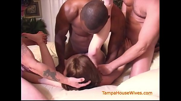 Neighborhood Housewife Cums Over for a Gangbang