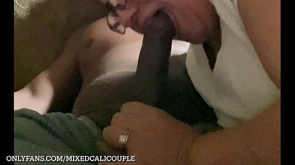 latina wife sucking bbc in living room, interracial, OF-mixedcalicouple
