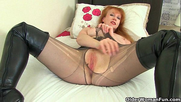 British milfs red and lucy gresty in sheer tights