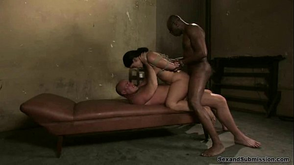 Luscious Lopez, bound and fucked by two men