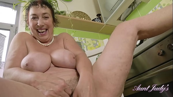 AuntJudys - Wild 58yo BUSTY BBW Gypsy GILF Esmerelda MASTURBATES in the Kitchen