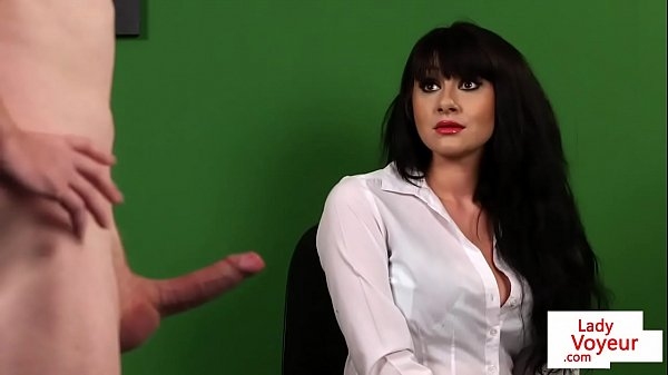 Stockinged british voyeur watching her sub