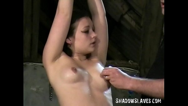 Young slave girl Pixie tied and whipped to tears in harsh small tit spanking