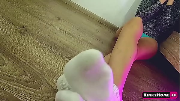 Girl. Legs. Socks. ASMR foot fetish. Thumb