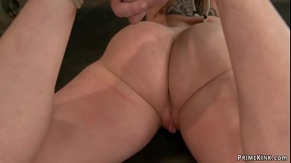 Hogtied busty blonde anal fucked