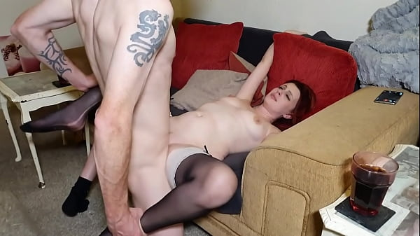 Scarlett and Felix have some passion on the sofa - short version