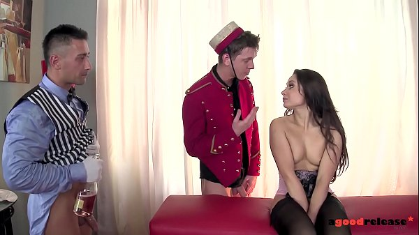 Russian babe Aurelly Rebel gets double penetrated by horny hotel workers