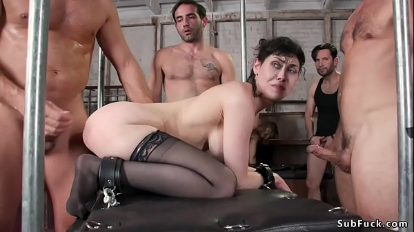 Busty babe in stockings dp banged