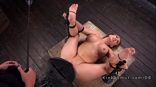 Locked down busty blonde gets sybian