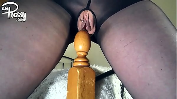 Pierced pussy fucks the bed poster