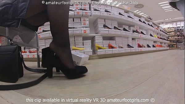 Candid Foot shoeplay, Dangling, Dipping Clip shoeshop try shoes barefoot sweaty feet shoes, socks, nylon