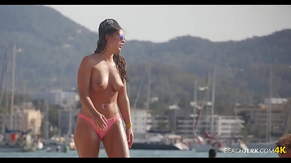Tall Brunette with great tits on topless beach