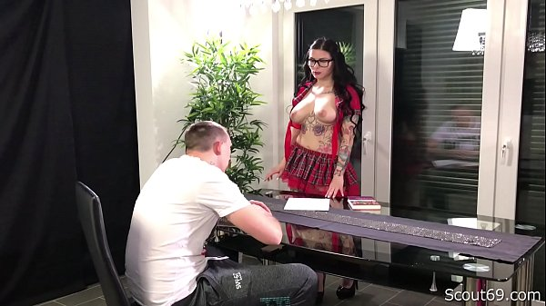 German MILF Teacher Seduce Young College Guy to Fuck her