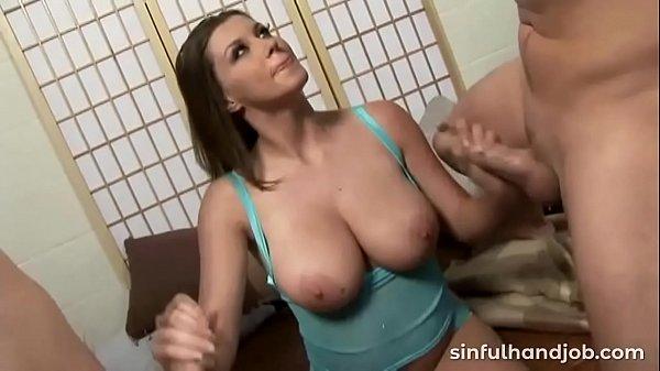 Bigtitted slut giving handjobs to two guys