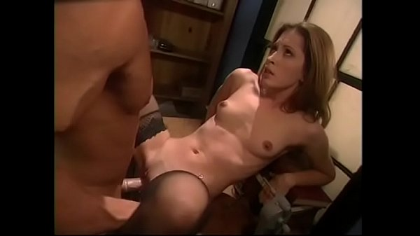 Round booty nympho in black stockings Gwen Summers rides a massive cock on floor