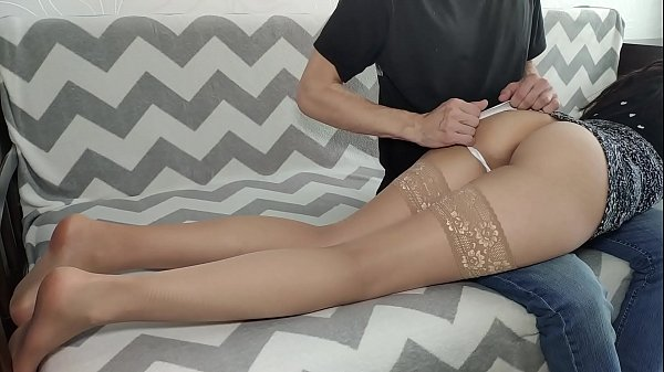Schoolgirl deserved spanking and cum on clothes