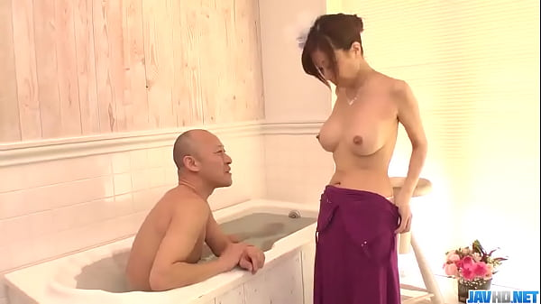 Chihiro Akino stands nude and deals cock like a...
