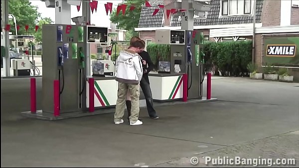 A pregnant girl fucked hard by 2 guys at a PUBLIC gas station