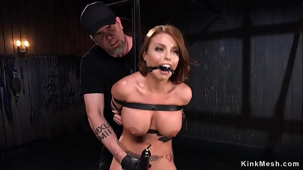 Busty oiled beauty pussy vibed in bondage  thumbnail