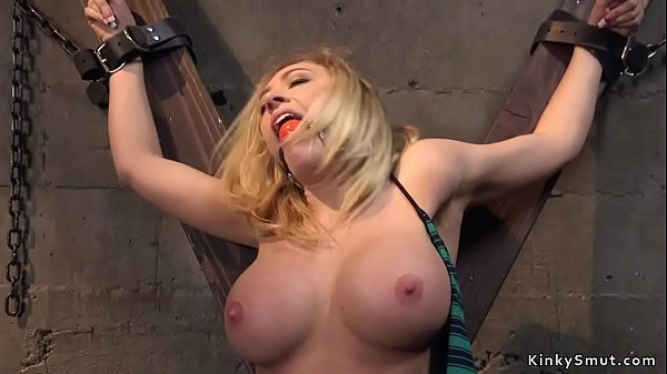 Busty blonde beauty banged in bondage