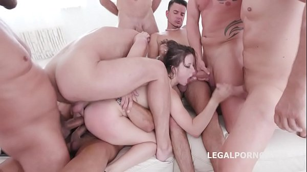 10 on 1 Gang Bang for ultra slut Gabriella Lati 10 Swallows!
