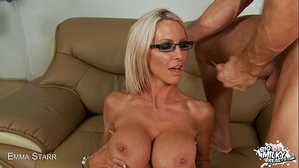 Emma Starr's big milky tits bounce while she rides cock