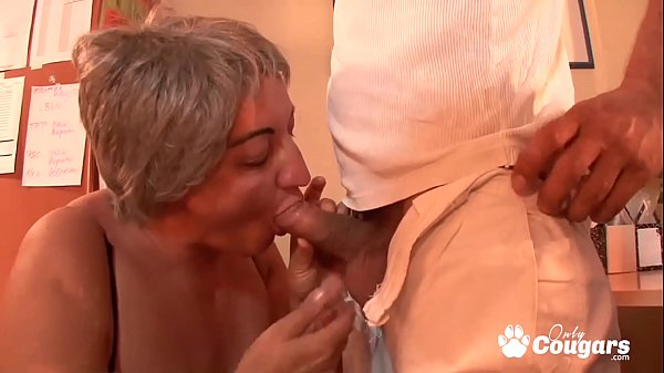 Horny Granny Lets A Young Man Fuck Her Huge Sag...