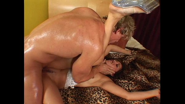 Horny brunette in white lingerie gets her pussy pounded