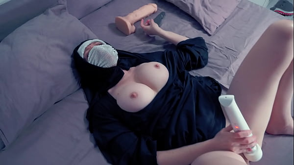 when the nun wants to fuck she takes two dildos. For ass and pussy