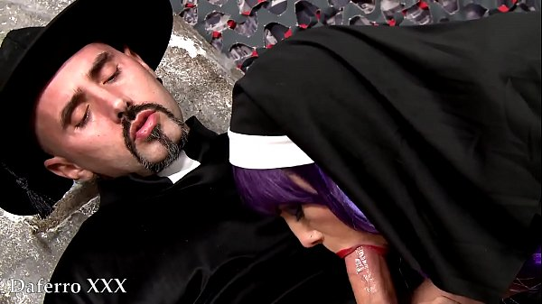 Nasty priest fucking catholic nun in the graveyard