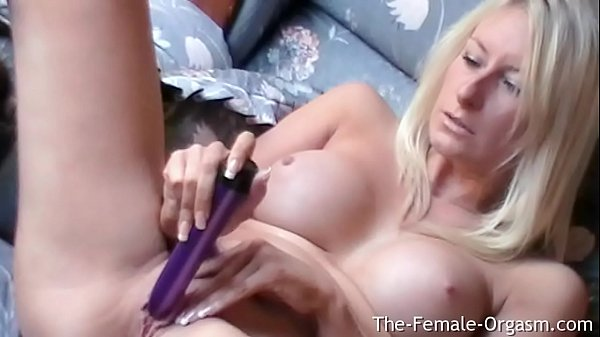 Katy Moore Strips and Pleasures Herself with her Vibrator to a Strong Contracting Orgasm