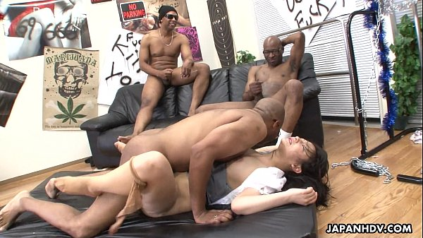 Three black men destroy the Asian sluts pussy Thumb