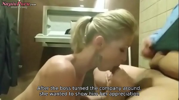 Employee Fucks Boss in Bathroom (REAL!) - Captions