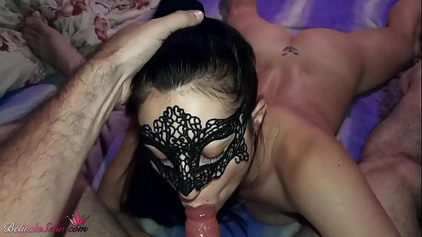 Masked Brunette Blowjob Big Dick and Cum in Mouth