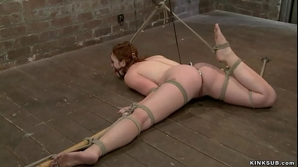 Bound redhead zappered on hogtie Thumb