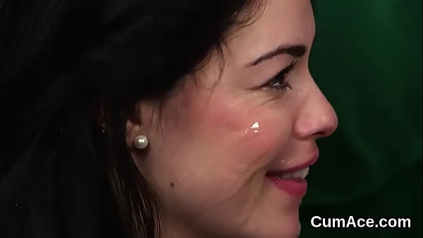 Randy hottie gets cum shot on her face eating all the jizz Thumb