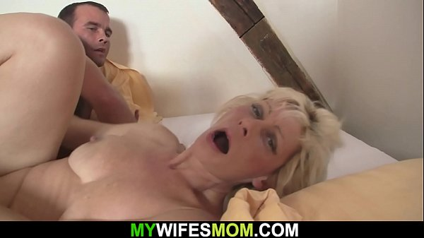 Blonde m.-in-law seduces him into cheating sex