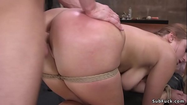 Busty slave anal banged and ass jizzed