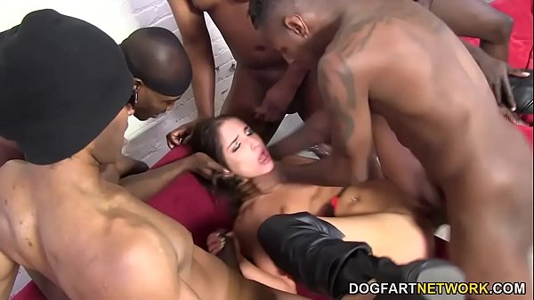 Black Cock Slut Giselle Leon Gets Gangbanged