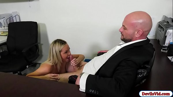 Busty babe fucks manager for the job