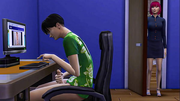 Japanese Mom Catches Her StepSon Masturbating In Front Of The Computer And Then Helps Him Have Sex With Her For The First Time