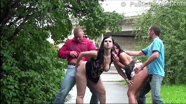 Public street foursome orgy with a pregnant girl
