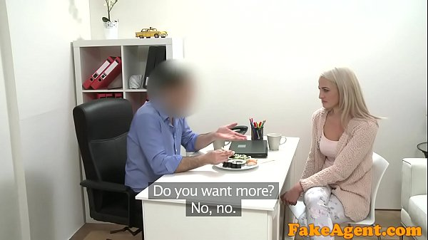 Fake Agent Hot blonde model loves cock over the...