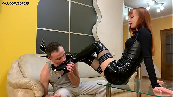 Foot Worship and Pussy Worship Femdom With Mistress Kira in High Heels and Stockings Thumb