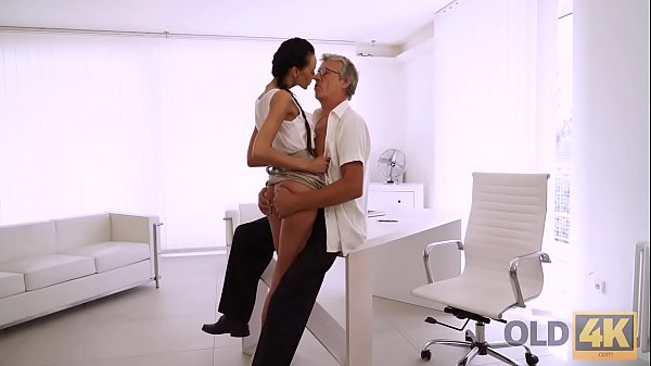 OLD4K. Old and young sex action performed in the white office Thumb