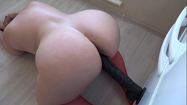 Chubby fuck hairy pussy with a big black dildo, doggystyle her fat butt shaking. Thumb