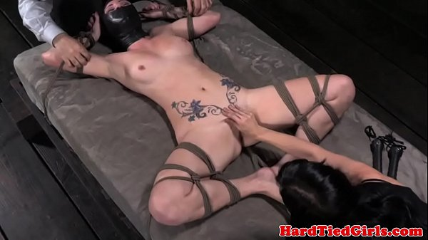 Spreadeagle sub punished by two doms