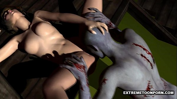Sexy 3D babe gets licked and fucked by a zombie