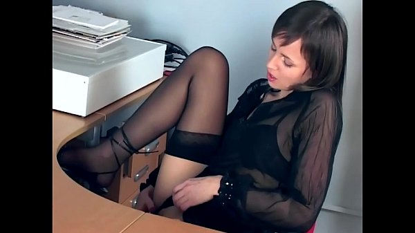 Office babe fingering in sheer stockings and heels