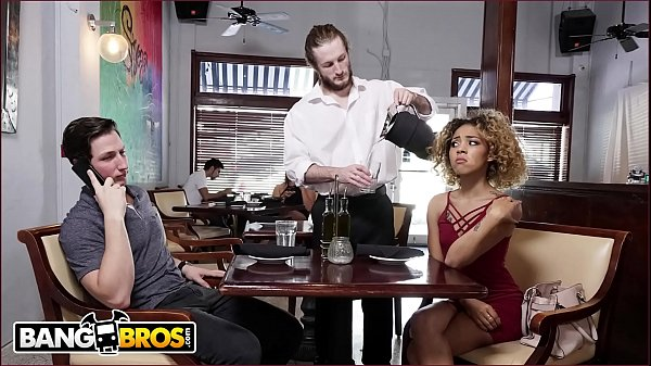 BANGBROS - Xianna Hill Is Being Ignored By Her Boyfriend At Restaurant, So The Waiter Steps In To Help Thumb